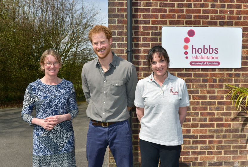 HRH Prince Harry at Hobbs Rehabilitation with Nicky Ellis and Helen Hobbs